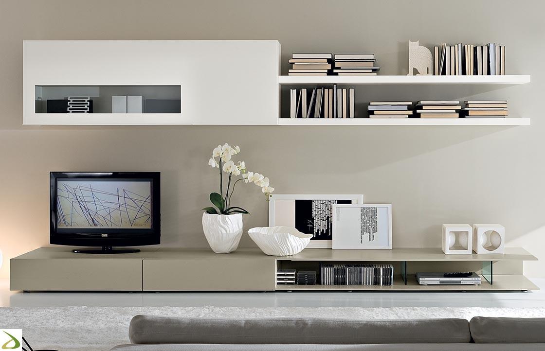 Mobilgam parete soggiorno componibile in legno horizon for Colori pareti soggiorno moderno